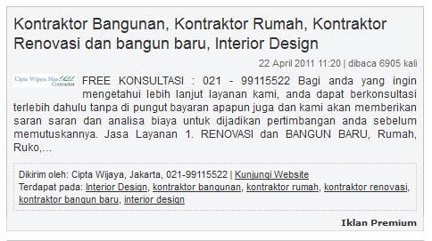 Contoh Iklan Premium iklangratis88